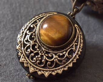 """Amulet Protection Necklace Pendant """"Lleuad"""" Tiger's Eye Moon Wicca - Wood Brass Gemstone - Pagan Triple Goddess"""