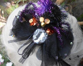 Weird Crystal Glass - Spider Hair Fascinator> Headpiece - Black Wedding Bouquet