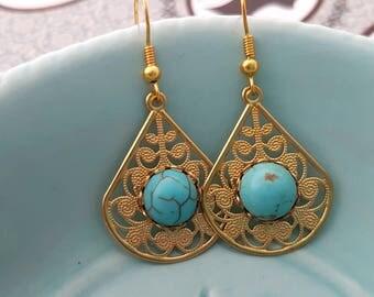 Turquoise Golden filigree earrings