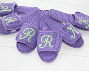 Personalized Slippers Open Toe Adjustable Velcro Closure Custom Embroidery by Bloomingdeals