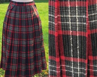 Vintage 50s Tartan Plaid Skirt 26 Waist