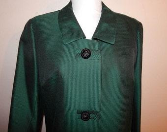 Vintage 50s 60s green black sharkskin wool pinstripe suit jack skirt m