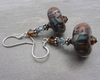 Lampwork Earrings Earthtone Colored Earrings Boro Lampwork Glass Bead Earrings Dangle Drop Earrings Mothers Day Gift SRAJD USA Handmade