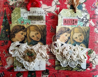 Handmade Christmas tags, Set of Two, Sweet Angels and Vintage Lace, Wonder and Adore