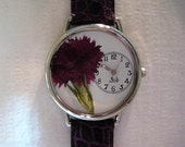 Womens Watch with Deep Red/Purple Carnation/Dianthus, Women Watches with Flowers, Leather Watch Women's Floral, Watches for Women,Carnation