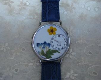 Blue Hydrangea Watch, Hydrangea Watch, Pressed Flower Watch, Gardening Watch,Womens Watch with Flowers, Floral Watch, Watch For Women