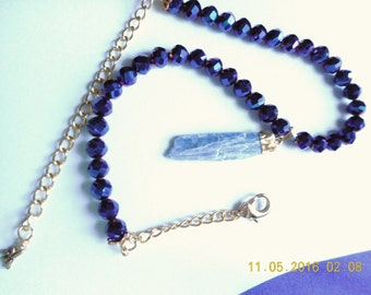Kyanite Excitement ... necklace, natural kyanite pendant, Czech faceted glass ... #727