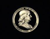 United States - cut coin pendant - Benjamin Franklin - SILVER - 1958