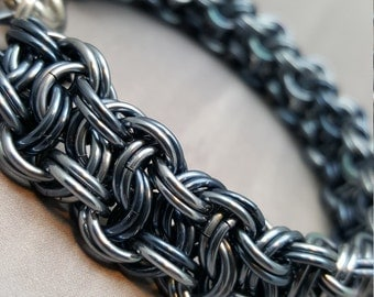 "Blackmaille ""Blue Steel"" Chainmaille Kinged Vipera Berus Bracelet"