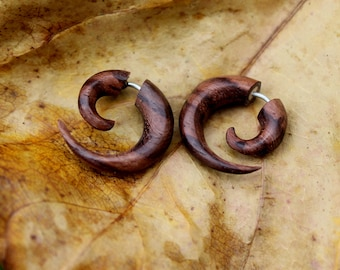 Spiral Fake Gauge Earrings ,Wood ,Organic, tribal style, Earrings ,Tribal XXX  Small size, Split,hand carved,gauge