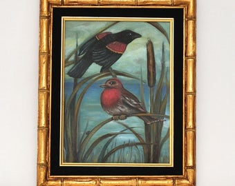Vintage Framed Birds Cattails Painting, circa 1983