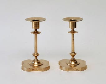 Antique Russian Brass Candlestick Holders, Pair, circa 1800s
