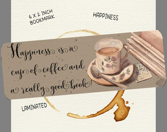 Coffee & Book Lover Bookmark-Coffee Quote Bookmark-Laminated Bookmark