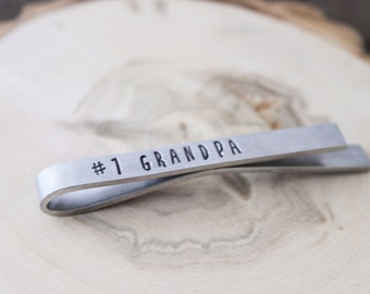 Tie Bar - #1 Grandpa - Gift for Dad- Gift for Husband - Gift for Grandfather -  Stocking Stuffer