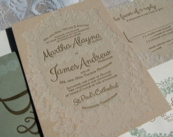 Letterpress Wedding Invitation Sample, Wedding Invitation, Lace Wedding Invitation Suite, Invitation Suite, Lace Burlap, Wedding Invitations