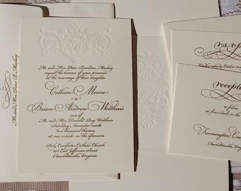 Letterpress Wedding Invitation Suite, Monogram, Classic Wedding, Calligraphic, Gold, Invitation Suite, Modern Invitation, Elegant, Sample
