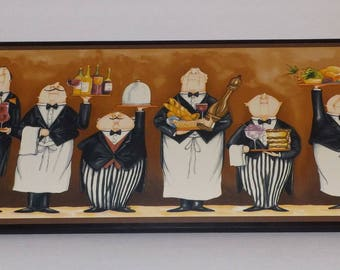 Waiters Kitchen Wall Decor Sign waiter plaque French chefs picture gold mustard yellow