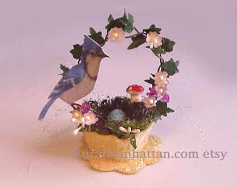 Bird Nest Ornament Blue Jay Ornie Feather Tree Egg Tree Millinery Flowers Spring Flowers Mushroom Moss Egg Recycled Upcycled Easter
