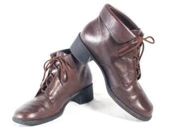 VTG 90's Brown Leather Hiking Boots size 6 1/2 Womens Lace Up Chunky Square Toe High Heel Walking Booties Ankle High Boots