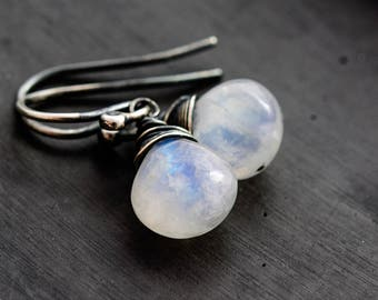 Moonstone Drop Earrings, Rainbow Moonstone Dangle Earrings, Sterling Silver Gemstone Earrings