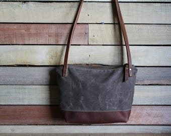 Waxed Canvas tote, Small zipper purse, crossbody zipper bag, waxed canvas purse, Zipper Top Handbag, free shipping, canvas bag