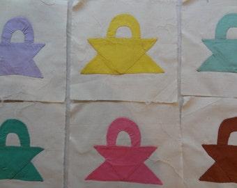 Vintage Quilt Blocks. Baskets. Hand Appliqued. Rainbow of Colors. 20 Pieces