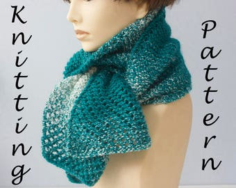 Scarfie Yarn Knitting Pattern, One Skein Scarf Pattern, Lace Scarf PDF Instant Download, Easy Knitting Pattern