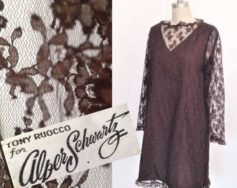Size 14 Vintage 1960s Dress / Mod Shift in Brown Lace / Alper Schwartz label / Mod Mad Men Party Prom Dress / Wedding Party / Large