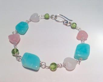 pastel bead bracelet, heart bead bracelet, peridot bracelet .