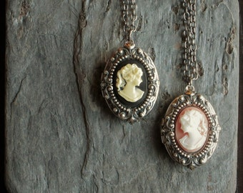 Antique silver cameo locket, black locket, pink locket, silver locket necklace, cameo jewelry, holiday gift ideas, gift ideas for mom