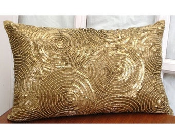 15% HOLIDAY SALE Decorative Oblong Lumbar Throw Pillow Cover Accent Pillow Couch Sofa 12x16 Inch Gold Silk Pillow Embroidered with Sequins A