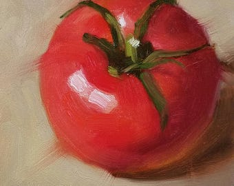 "Small Original Oil Painting, Tomato, 4 x 4"", Unframed, Wall Art, Kitchen Art"