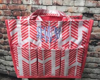 Coral Arrow Organizer Caddy-Organizer Tote-Nurse Bag-Teacher Bag-Toy Bag-Shower Caddy-Includes Monogram