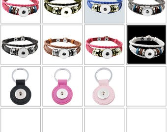 MERZIEs 18-20mm silver leather U PIC color base bracelet tan black pink brown white SNAP Button - SHIPs from US - Combined Shipping