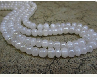 Mystic Silverite 8mm Rondelle Beads , White Pearl Gemstone Sparkle , 16 Inches