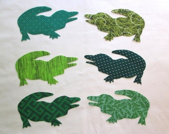 Set of 6 Green Alligator Iron-on Cotton Fabric Appliques for Quilts Apparel Etc