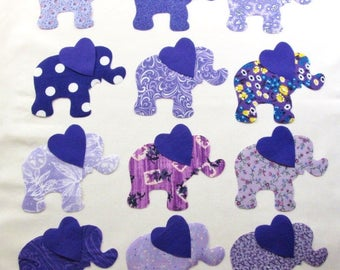 "Set of 12 Large 6"" Purple Elephant w/Heart Ears Iron-on Fabric Appliques for Quilts & Clothing"