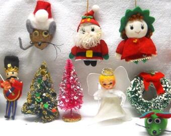 Vintage Lot Christmas Ornaments -Bristle Trees, Angel, Green Bottle Brush Wreaths- Baubles for Decoration or Destash