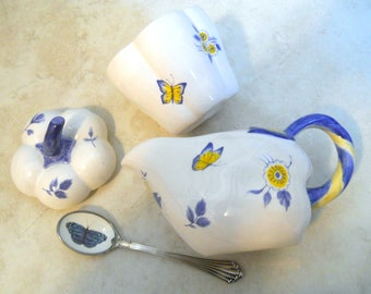 Spode Imperial Garden  Creamer & Sugar Bowl, Vintage Tea Set Accessories - Blue Yellow Butterfly and Daisy Flower