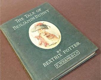 Tale of Benjamin Bunny Beatrix Potter Frederick Warne 1930s vintage childrens book . bedtime story . antique book Mr McGregor Peter Rabbit