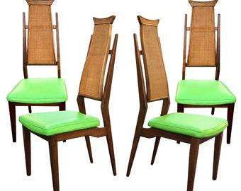 Mid Century Set of 4 Walnut Highback Dining Chairs