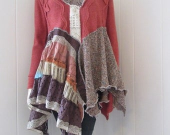 RESERVED for GP Boho Lagenlook Tunic Sweater Funky Gypsy Jung Burnt Orange Brown with Vintage Lace & Ruffles Size S - M