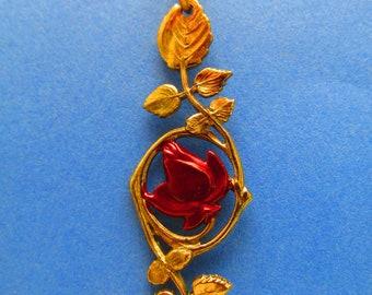 Rose Necklace Vintage necklace Bronze Unique Necklace Simple necklace Red Rose Romance Necklace