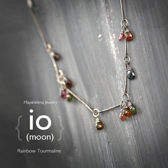 Io (moon)  - Rainbow tourmaline in Fabricated Bar and Link Sterling Silver Necklace - October Birthstone