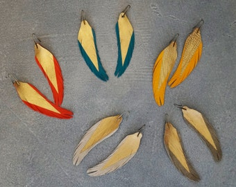 "Short - 4.5"" Modern Feather Earrings come in 5 colors - Leather Feather Jewelry"
