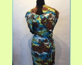 1940s/50s Sarong dress and matching bolero jacket