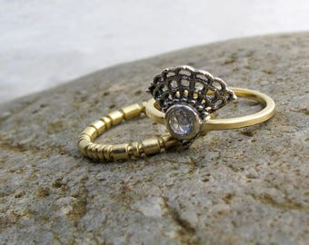 Antique style rose cut diamond ring, lacy Victorian oxidized sterling setting and a royal yellow gold band, alternative engagement ring