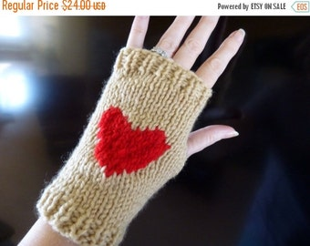 Black Friday sale Knit Gloves for Women, Knit Fingerless Gloves, Tan Fingerless Mittens Red Heart, Heart Womens Gloves, Ready to Ship
