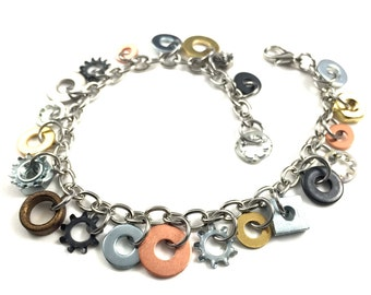 Charm Bracelet Chain Bracelet Steampunk Hardware Jewelry Eco Friendly Industrial Brass, Steel, Black, and Copper Washer Charms