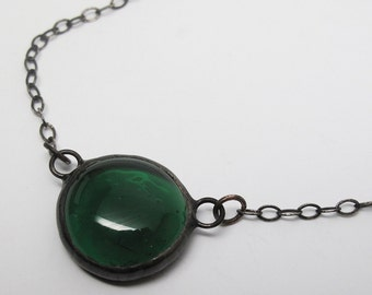 Emerald Droplet - Stained Glass Nugget Necklace with Sterling Silver Chain